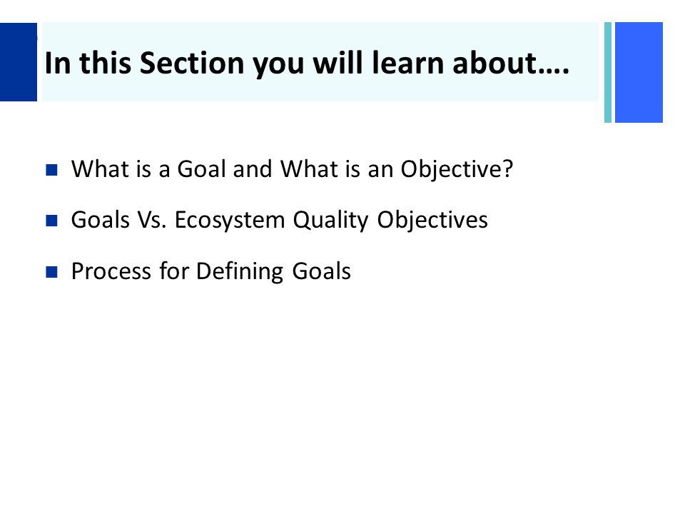 + In this Section you will learn about…. What is a Goal and What is an Objective.