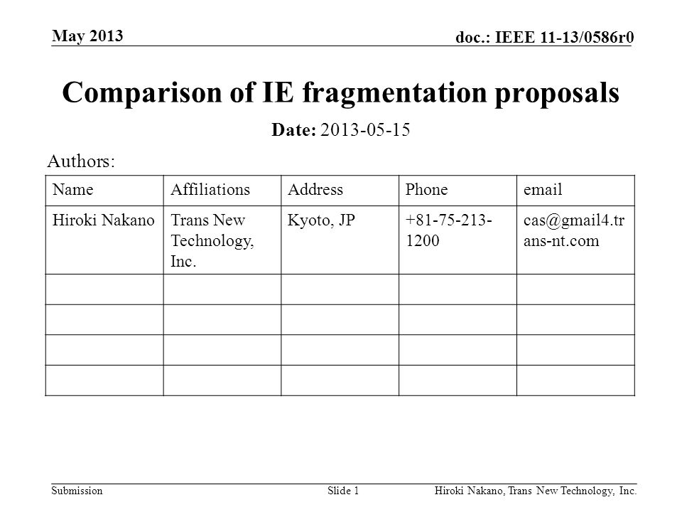 Submission doc.: IEEE 11-13/0586r0 May 2013 Hiroki Nakano, Trans New Technology, Inc.Slide 1 Comparison of IE fragmentation proposals Date: 2013-05-15 Authors: NameAffiliationsAddressPhoneemail Hiroki NakanoTrans New Technology, Inc.