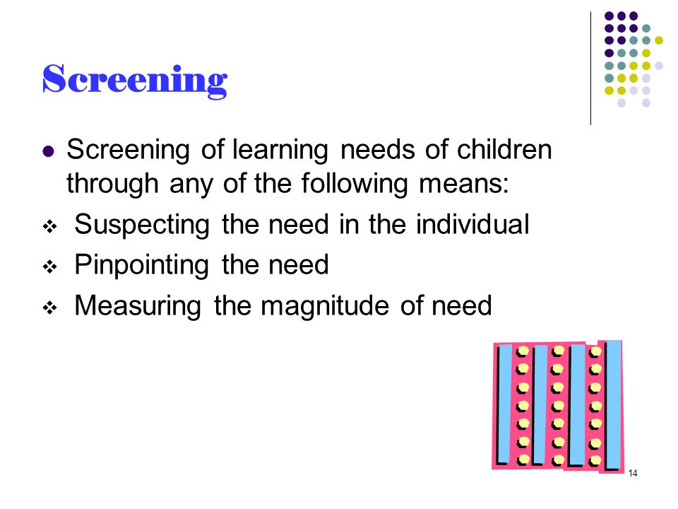Screening Screening of learning needs of children through any of the following means:  Suspecting the need in the individual  Pinpointing the need  Measuring the magnitude of need 14