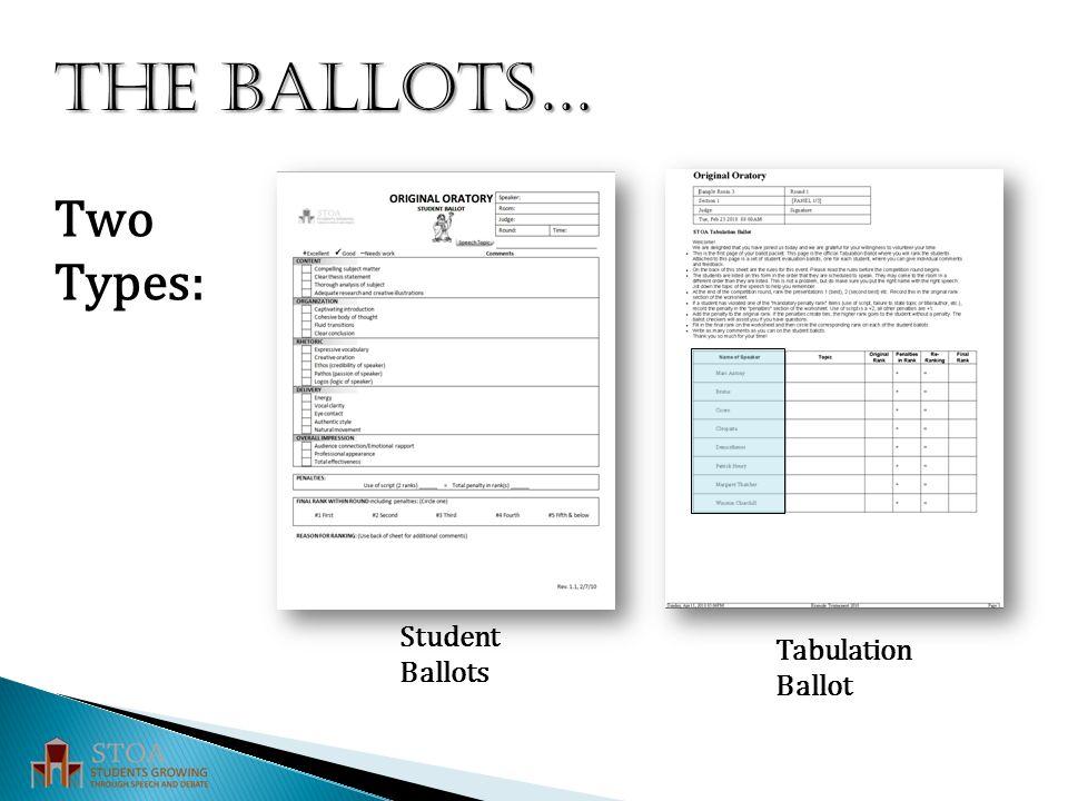 THE BALLOTS… Two Types: Tabulation Ballot Student Ballots