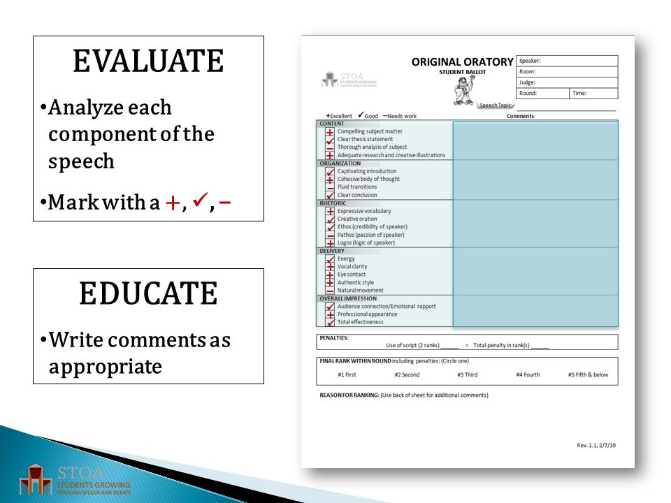 EVALUATE Analyze each component of the speech Mark with a +,, – EDUCATE Write comments as appropriate – – – – +