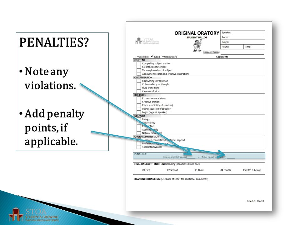 PENALTIES Note any violations. Add penalty points, if applicable.