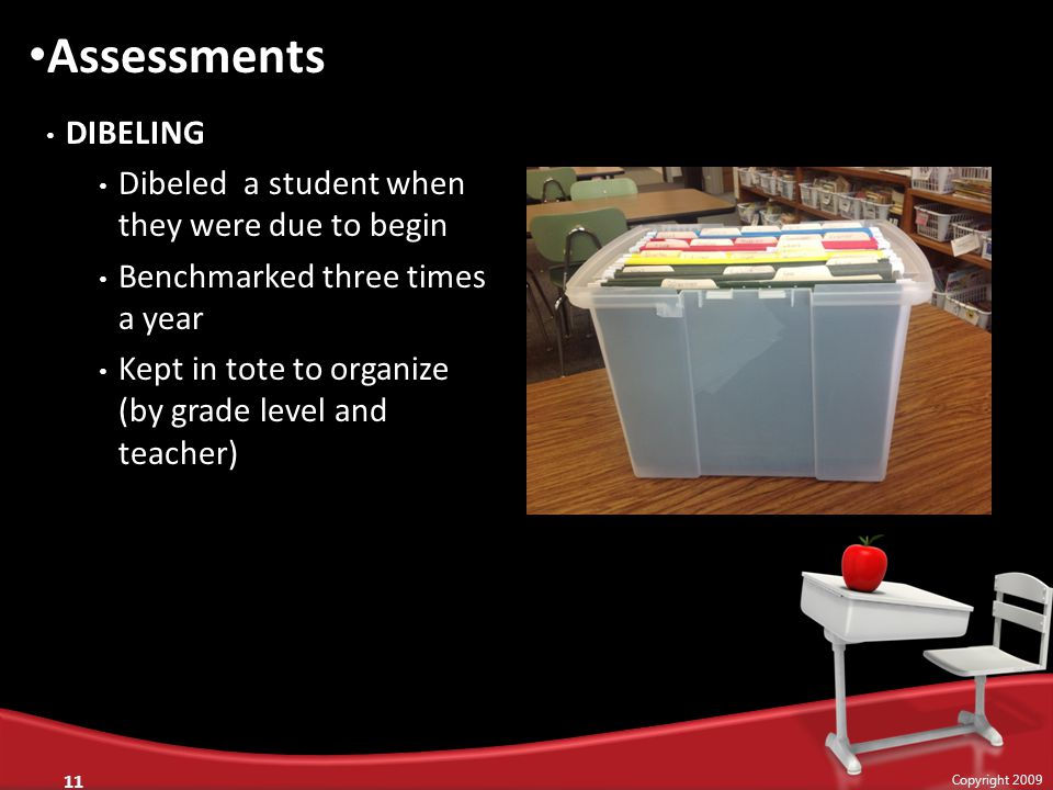 DIBELING Dibeled a student when they were due to begin Benchmarked three times a year Kept in tote to organize (by grade level and teacher) 11 Copyrig