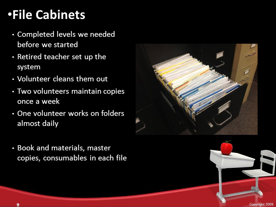Completed levels we needed before we started Retired teacher set up the system Volunteer cleans them out Two volunteers maintain copies once a week One volunteer works on folders almost daily Book and materials, master copies, consumables in each file 9 Copyright 2009 File Cabinets