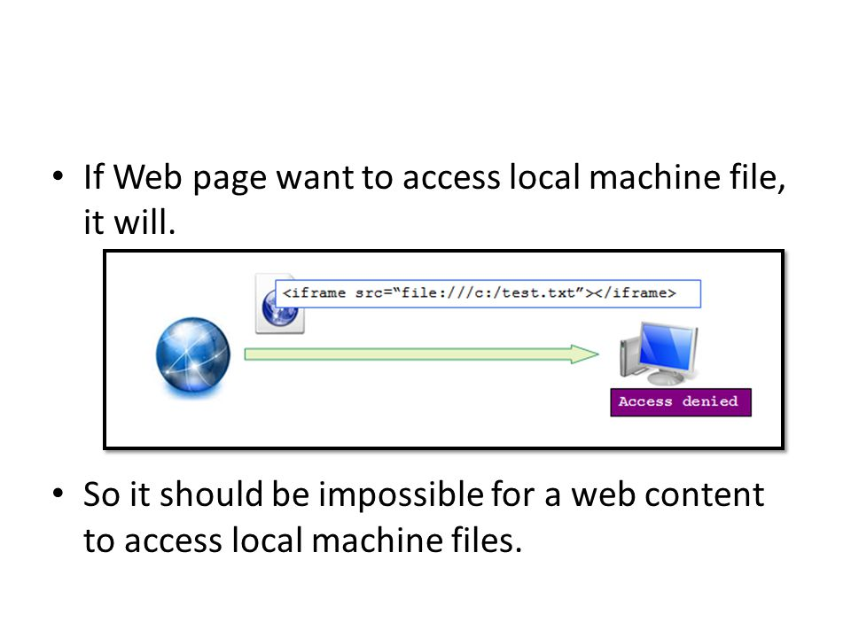 If Web page want to access local machine file, it will.