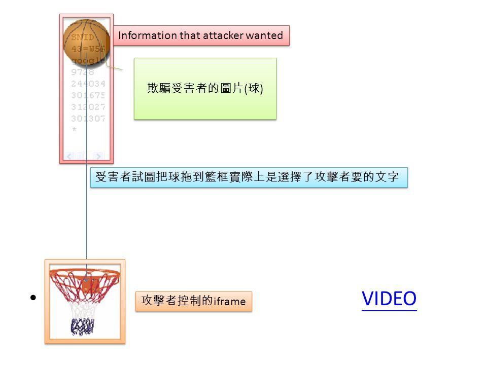 VIDEO Information that attacker wanted 欺騙受害者的圖片 ( 球 ) 受害者試圖把球拖到籃框實際上是選擇了攻擊者要的文字 攻擊者控制的 iframe