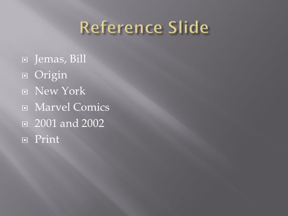  Jemas, Bill  Origin  New York  Marvel Comics  2001 and 2002  Print