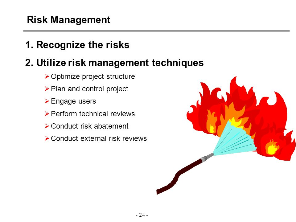 - 24 - Risk Management 1.Recognize the risks 2.Utilize risk management techniques  Optimize project structure  Plan and control project  Engage use