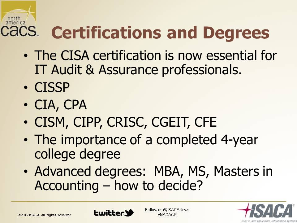 Certifications and Degrees The CISA certification is now essential for IT Audit & Assurance professionals.