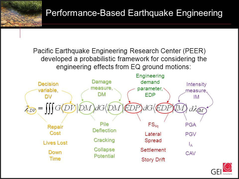 Pacific Earthquake Engineering Research Center (PEER) developed a probabilistic framework for considering the engineering effects from EQ ground motio