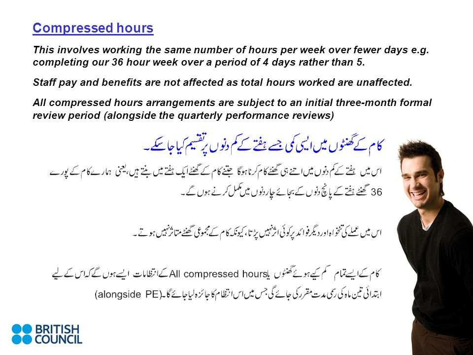 Compressed hours This involves working the same number of hours per week over fewer days e.g.