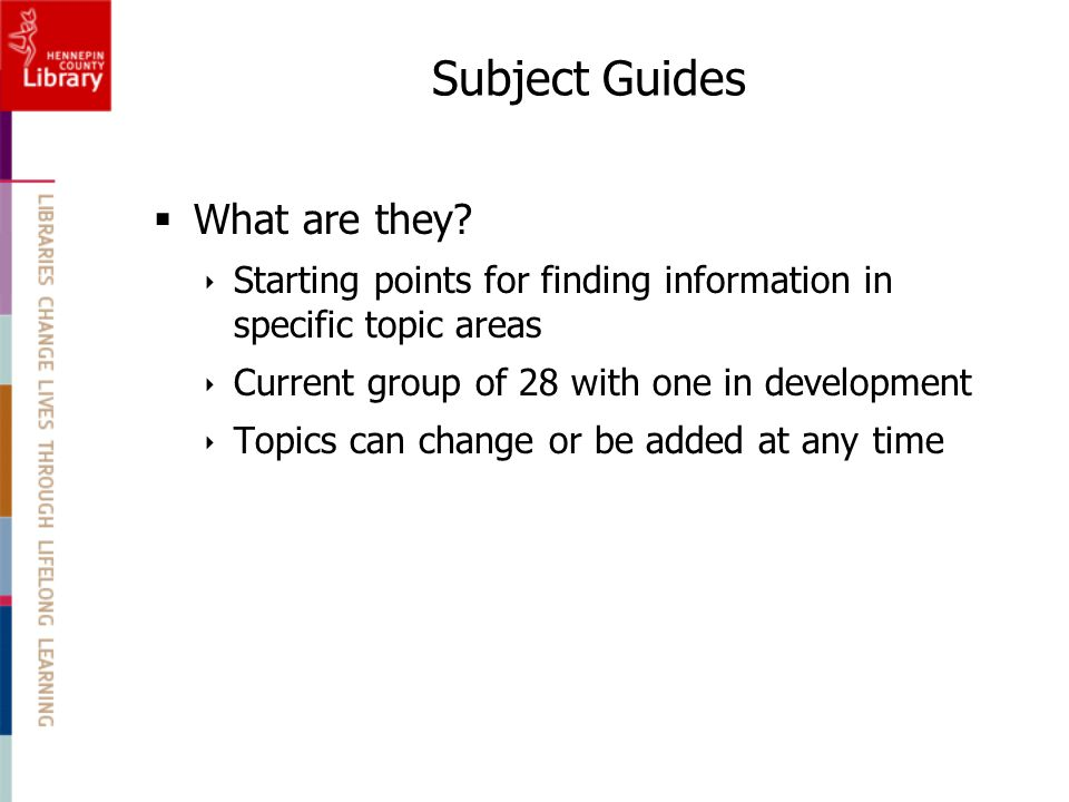 Subject Guides  What are they.