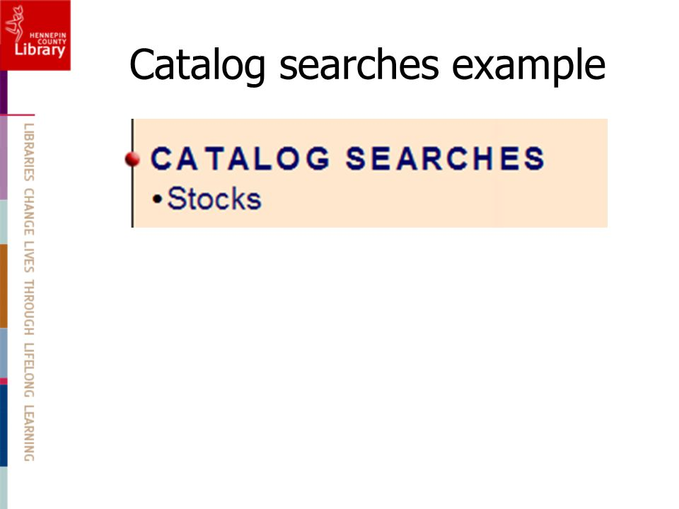 Catalog searches example