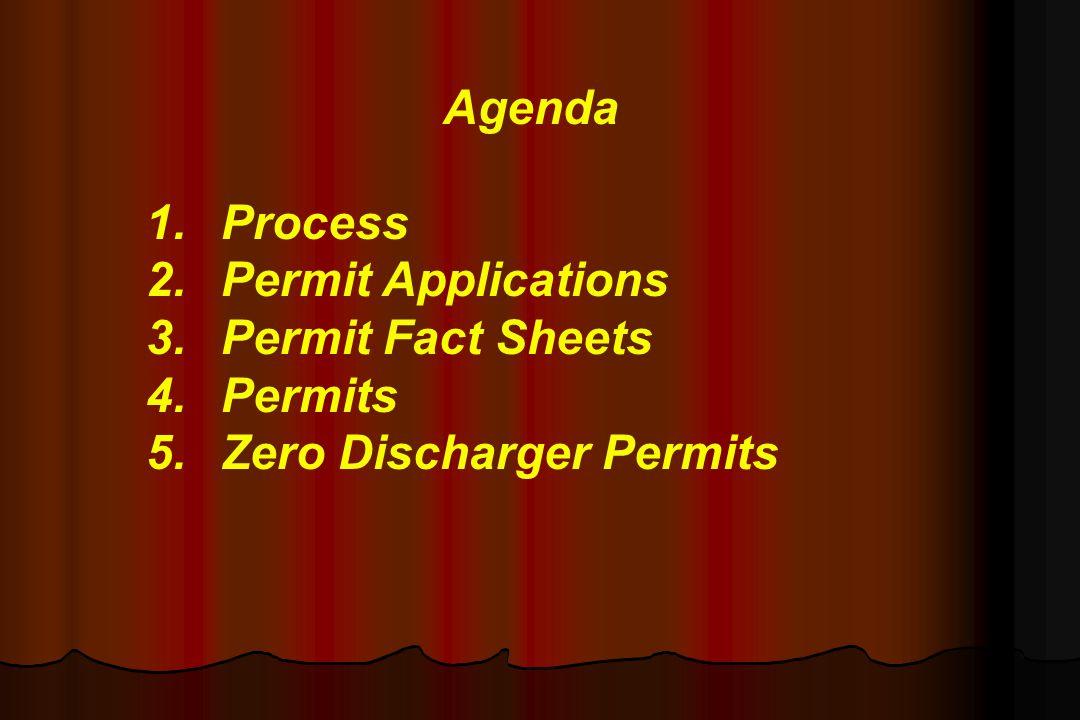 Agenda 1. Process 2. Permit Applications 3. Permit Fact Sheets 4. Permits 5. Zero Discharger Permits