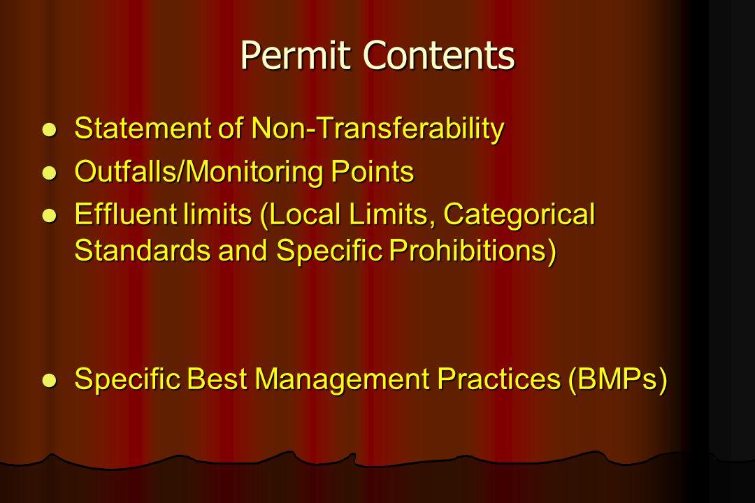 Permit Contents Statement of Non-Transferability Statement of Non-Transferability Outfalls/Monitoring Points Outfalls/Monitoring Points Effluent limit