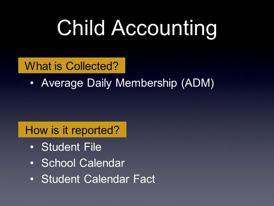 Average Daily Membership (ADM) Student File School Calendar Student Calendar Fact What is Collected? How is it reported? Child Accounting
