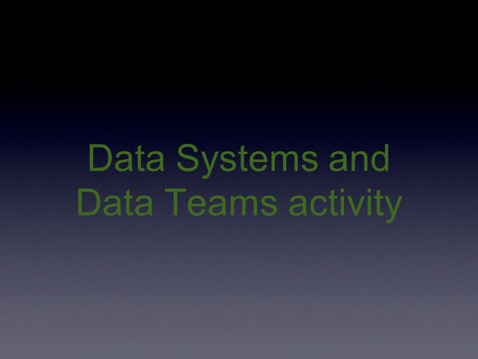 Data Systems and Data Teams activity