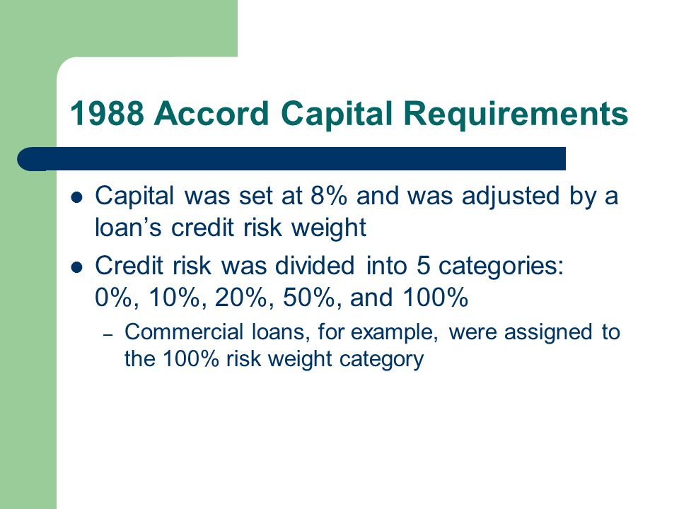 1988 Accord Capital Requirements Capital was set at 8% and was adjusted by a loan's credit risk weight Credit risk was divided into 5 categories: 0%,