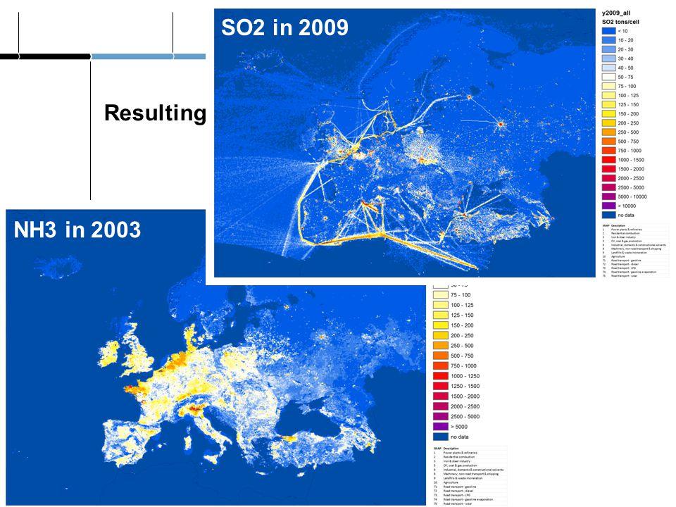 Resulting emission maps Jeroen Kuenen MACC-II European emissions NH3 in 2003 SO2 in 2009