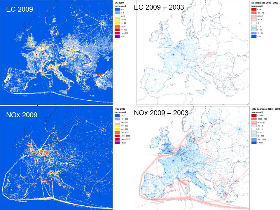 Jeroen Kuenen MACC-II European emissions EC 2009 NOx 2009 EC 2009 – 2003 NOx 2009 – 2003