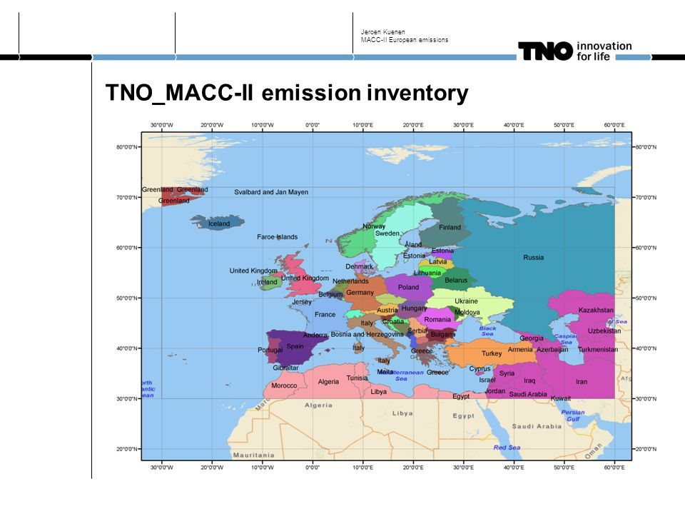 TNO_MACC-II emission inventory Updating and improving TNO_MACC inventory Improved point source representation Improved variation between years, adding 2008-2009 Harmonization with latest reporting to the extent possible Spatial resolution 1/8 x 1/16 degrees (lon/lat) ~ 7x7km Pollutants covered: NOx, SO2, NMVOC, NH3 CH4, CO PM10, PM2.5 (and components) Jeroen Kuenen MACC-II European emissions