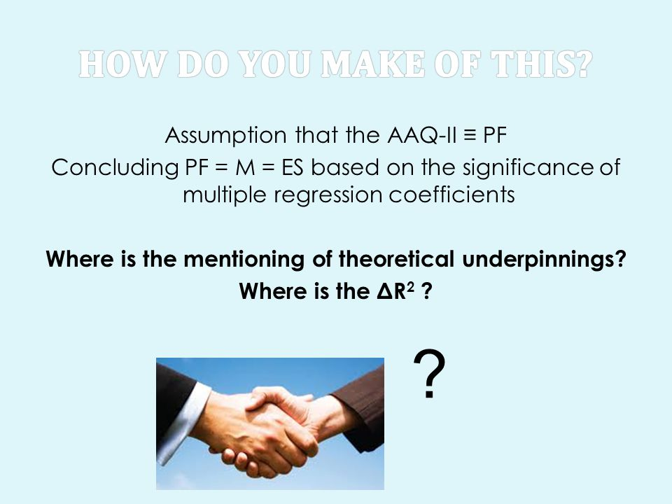Assumption that the AAQ-II ≡ PF Concluding PF = M = ES based on the significance of multiple regression coefficients Where is the mentioning of theore