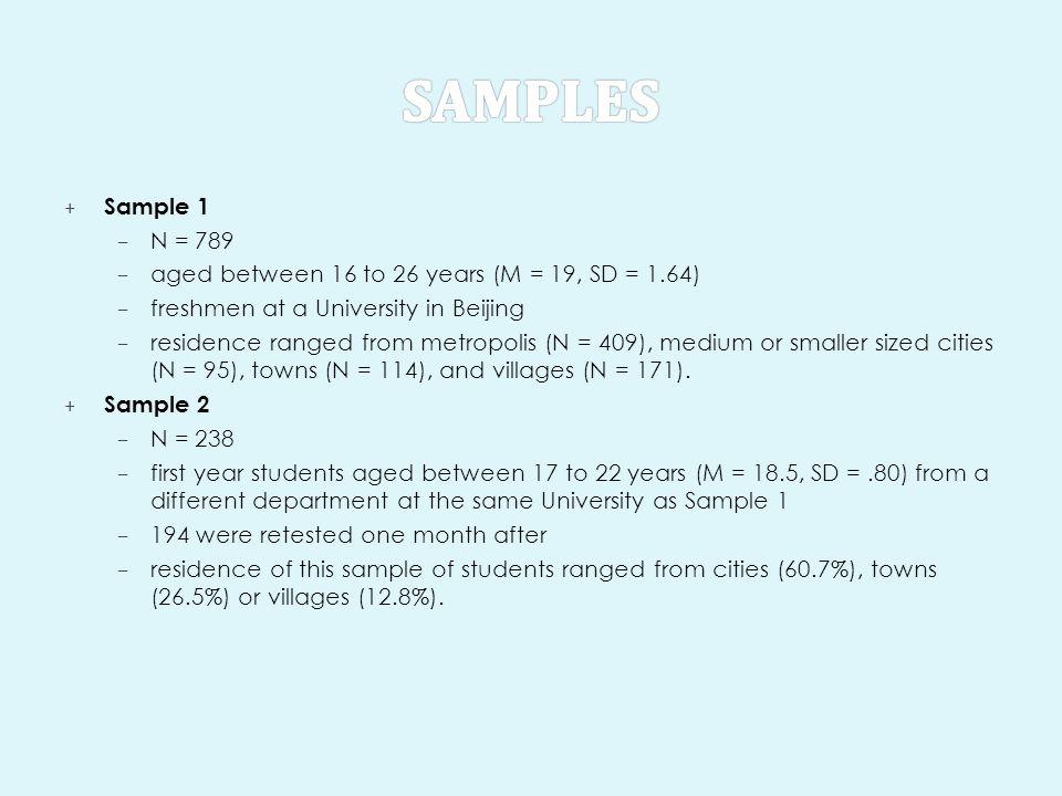 + Sample 1 – N = 789 – aged between 16 to 26 years (M = 19, SD = 1.64) – freshmen at a University in Beijing – residence ranged from metropolis (N = 4