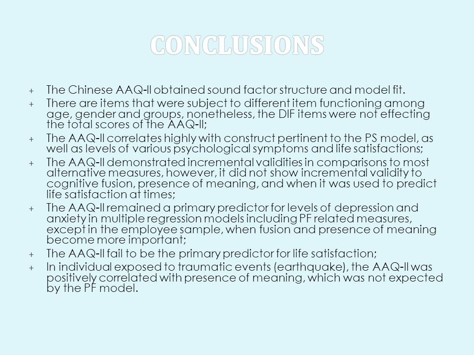 + The Chinese AAQ-II obtained sound factor structure and model fit. + There are items that were subject to different item functioning among age, gende
