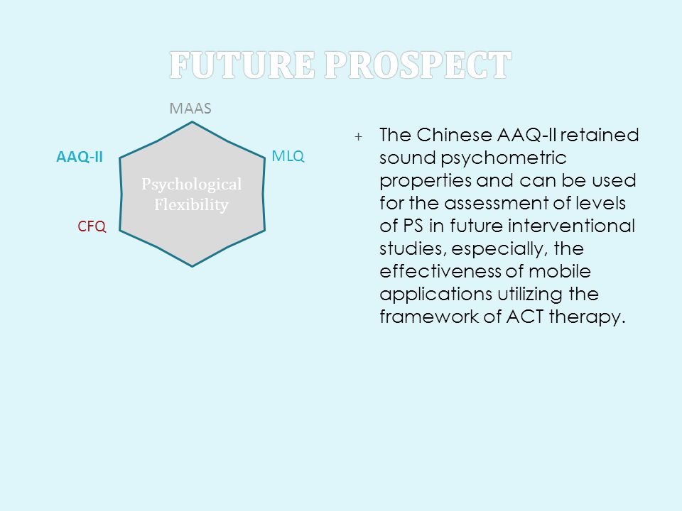 + The Chinese AAQ-II retained sound psychometric properties and can be used for the assessment of levels of PS in future interventional studies, especially, the effectiveness of mobile applications utilizing the framework of ACT therapy.