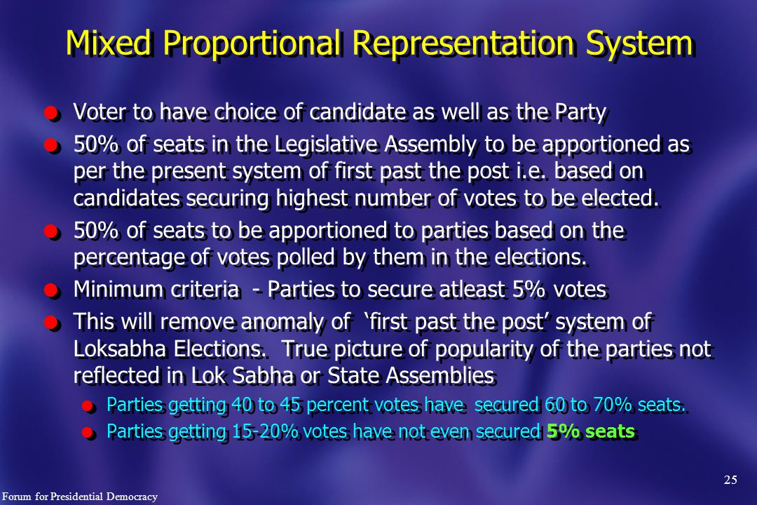 25 l Voter to have choice of candidate as well as the Party l 50% of seats in the Legislative Assembly to be apportioned as per the present system of first past the post i.e.