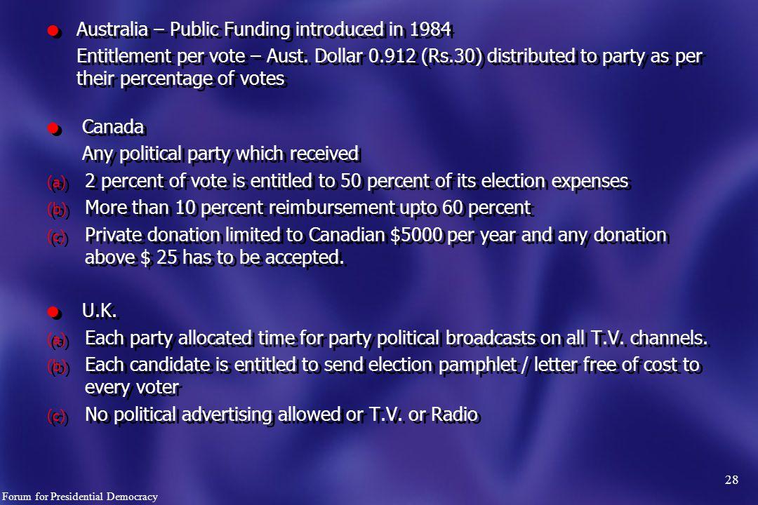 l Australia – Public Funding introduced in 1984 Entitlement per vote – Aust.