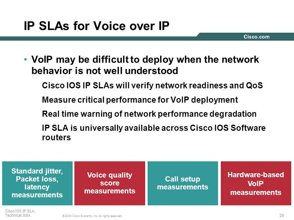 28 © 2004 Cisco Systems, Inc. All rights reserved. Cisco IOS IP SLA, Technical, 9/04 Call setup measurements Standard jitter, Packet loss, latency mea