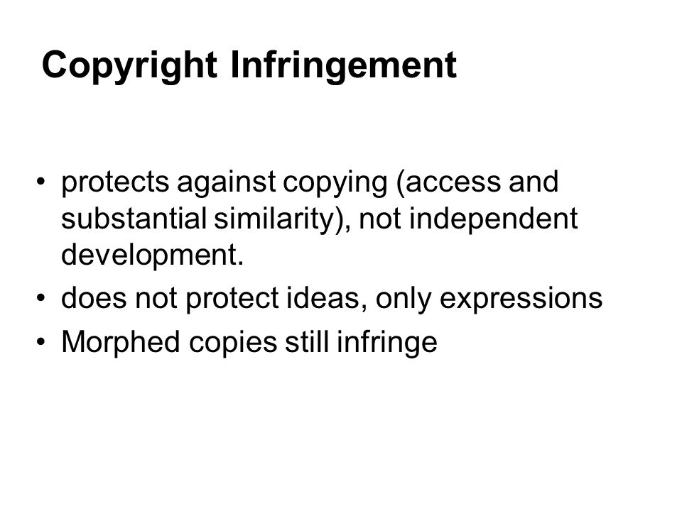 Copyright Infringement Defenses Permission (license) Originality/Independence Public domain Not a copy