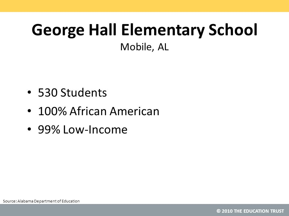 © 2010 THE EDUCATION TRUST Source: George Hall Elementary School Mobile, AL 530 Students 100% African American 99% Low-Income Alabama Department of Education