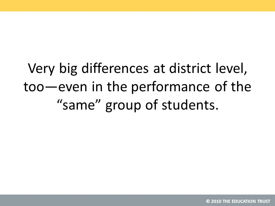 © 2010 THE EDUCATION TRUST Very big differences at district level, too—even in the performance of the same group of students.