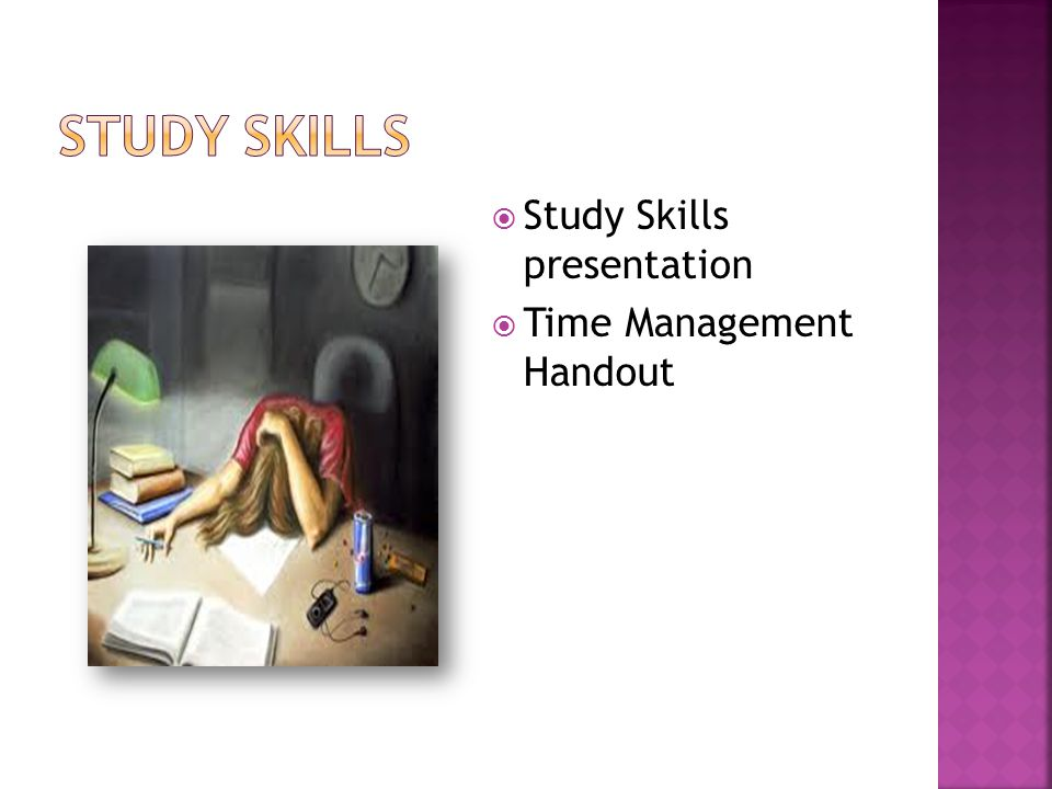  Study Skills presentation  Time Management Handout