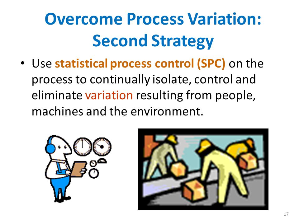 16 Overcome Process Variation: First Strategy Anticipate problems – develop controls during the design cycle for both the product and the manufacturing process steps to include the following: – Define 6 sigma tolerances on all critical product and process parameters – Minimize the total number of parts in the product – Minimize the number of process steps – Standardize on parts and procedures – Use SPC during initial design and prototype design phases