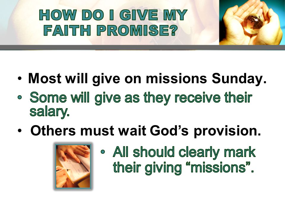 Most will give on missions Sunday. Others must wait God's provision.