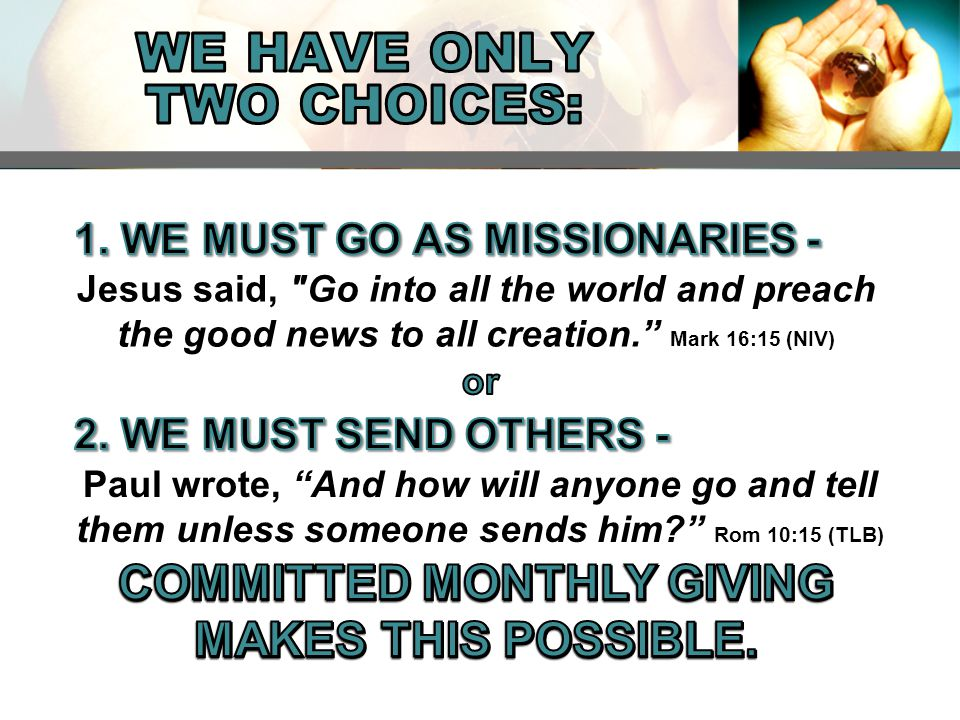 KINDS OF MISSIONS GIVING