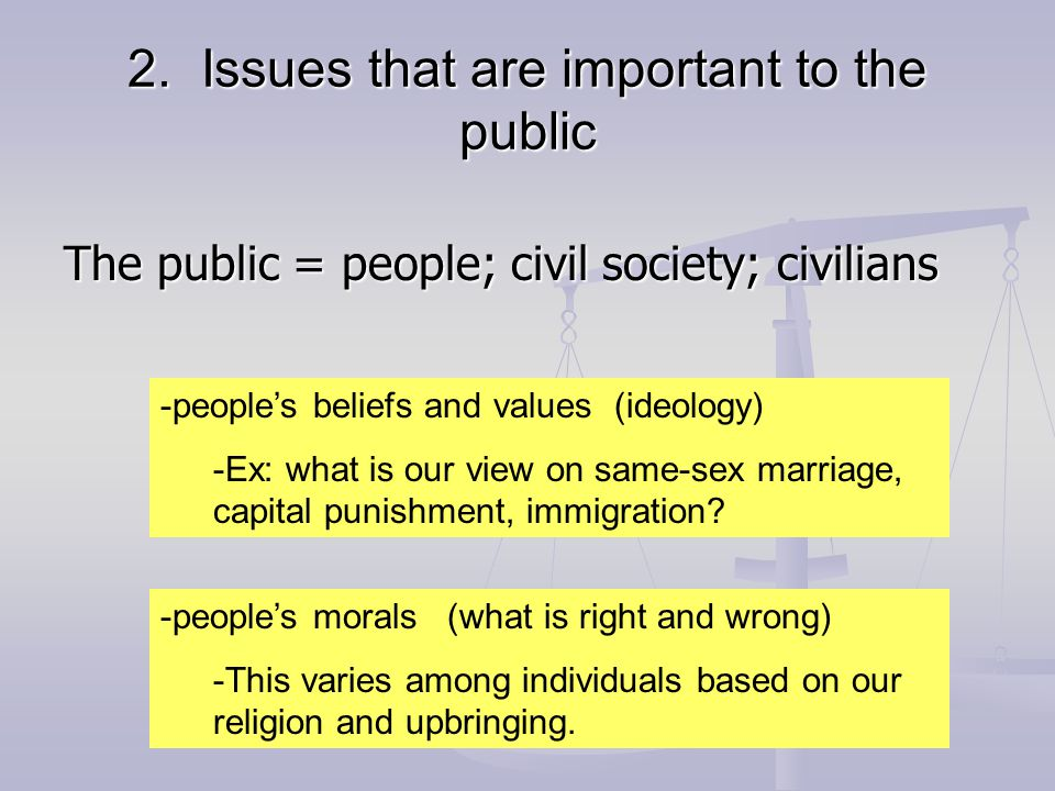 3.The rights and responsibilities of citizens How does each of us function in society.