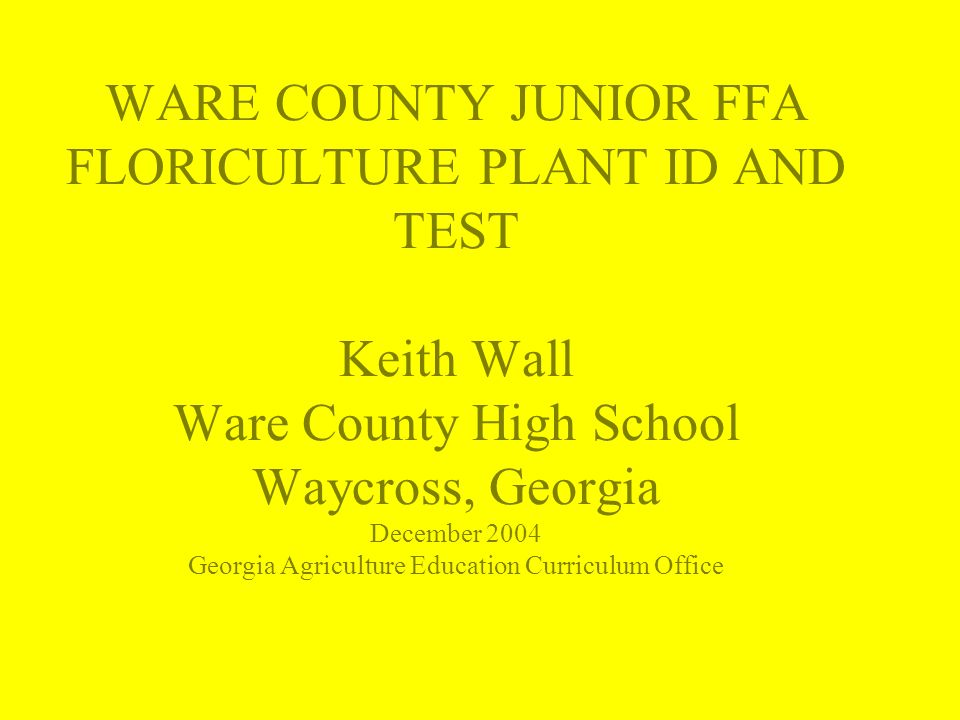 WARE COUNTY JUNIOR FFA FLORICULTURE PLANT ID AND TEST Keith Wall Ware County High School Waycross, Georgia December 2004 Georgia Agriculture Education