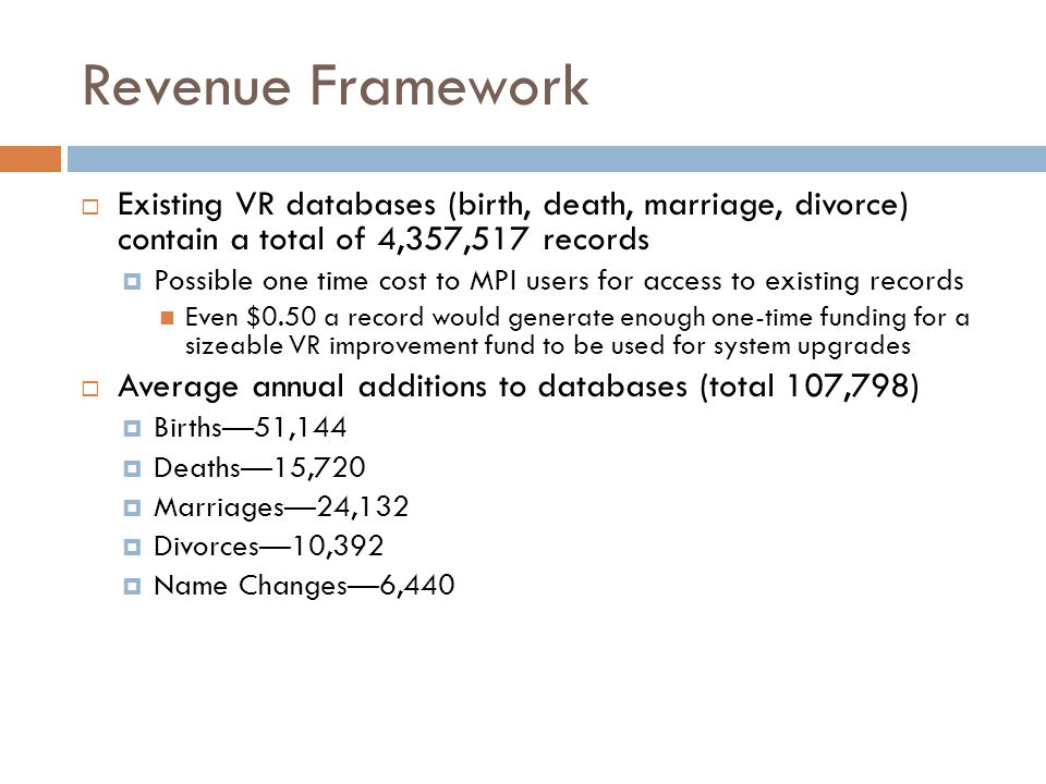 Revenue Framework  Existing VR databases (birth, death, marriage, divorce) contain a total of 4,357,517 records  Possible one time cost to MPI users for access to existing records Even $0.50 a record would generate enough one-time funding for a sizeable VR improvement fund to be used for system upgrades  Average annual additions to databases (total 107,798)  Births—51,144  Deaths—15,720  Marriages—24,132  Divorces—10,392  Name Changes—6,440
