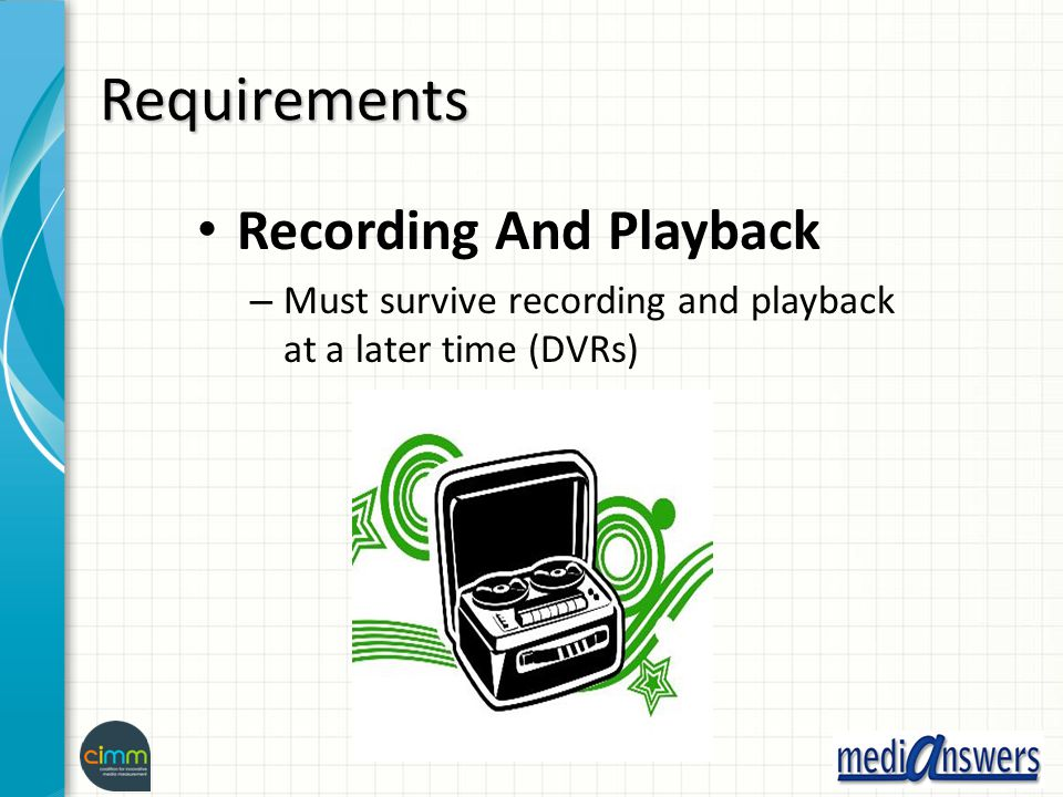 Requirements Recording And Playback – Must survive recording and playback at a later time (DVRs)