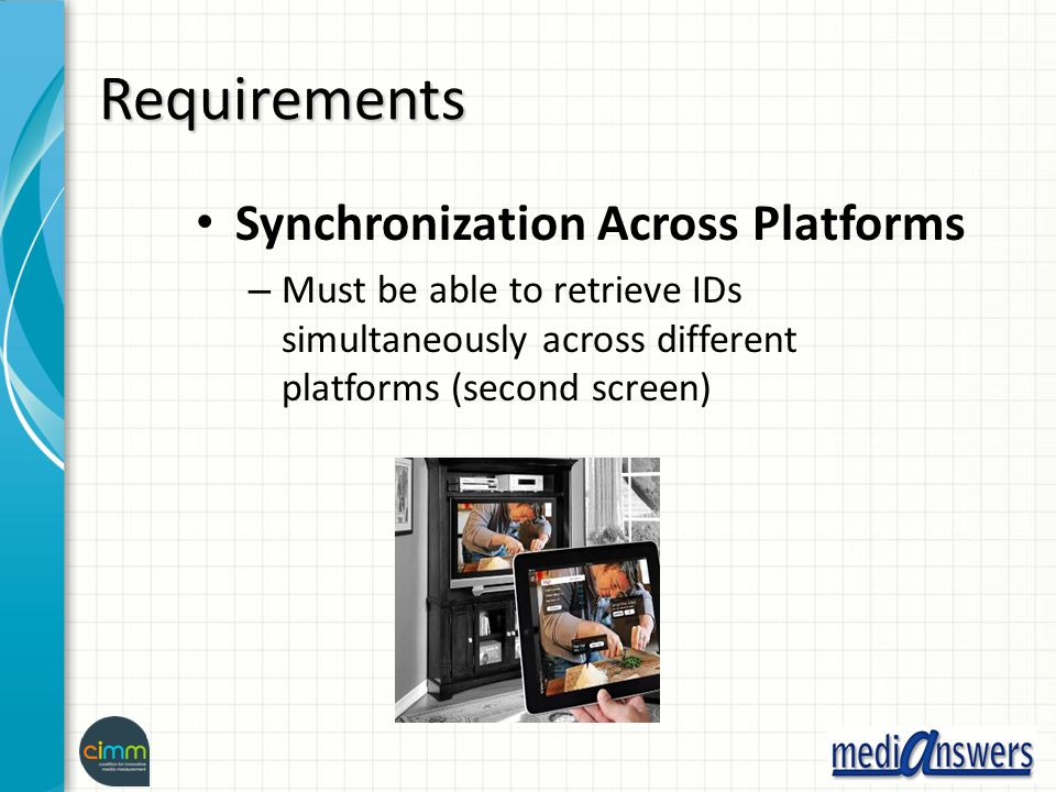 Requirements Synchronization Across Platforms – Must be able to retrieve IDs simultaneously across different platforms (second screen)