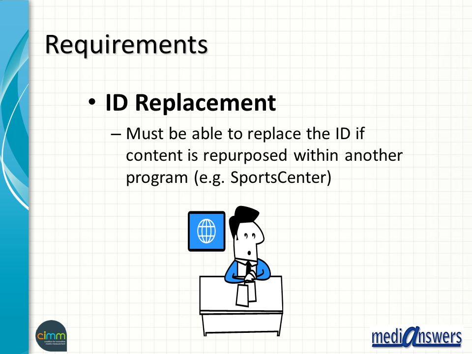 Requirements ID Replacement – Must be able to replace the ID if content is repurposed within another program (e.g. SportsCenter)