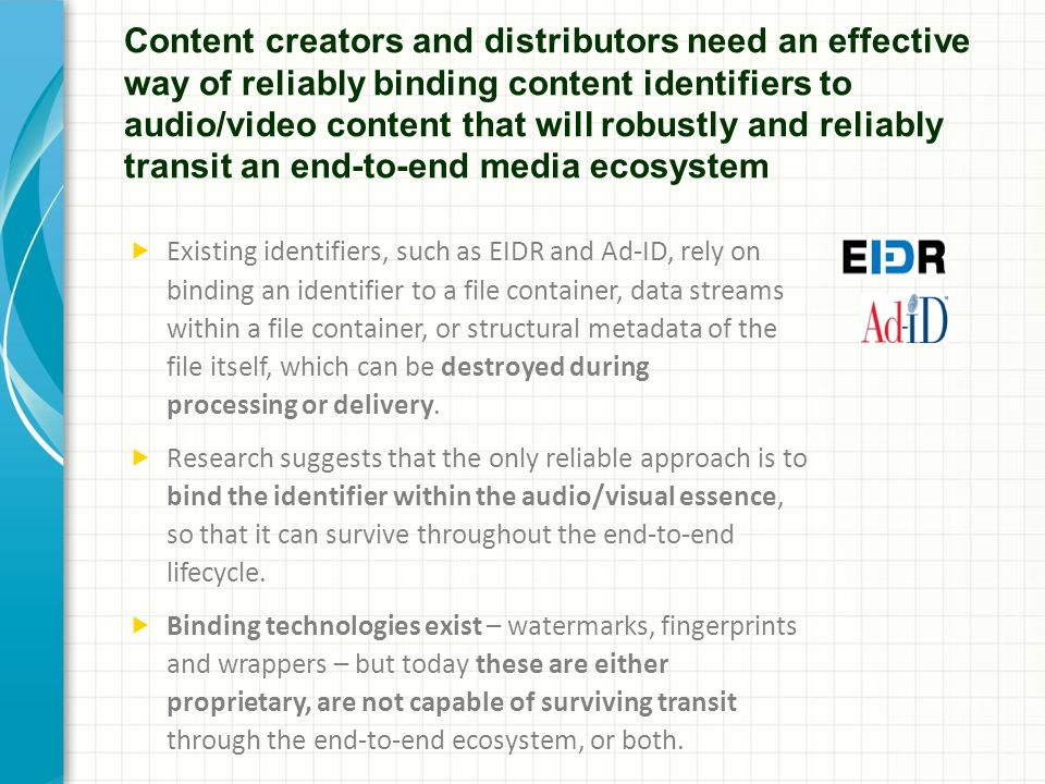Content creators and distributors need an effective way of reliably binding content identifiers to audio/video content that will robustly and reliably