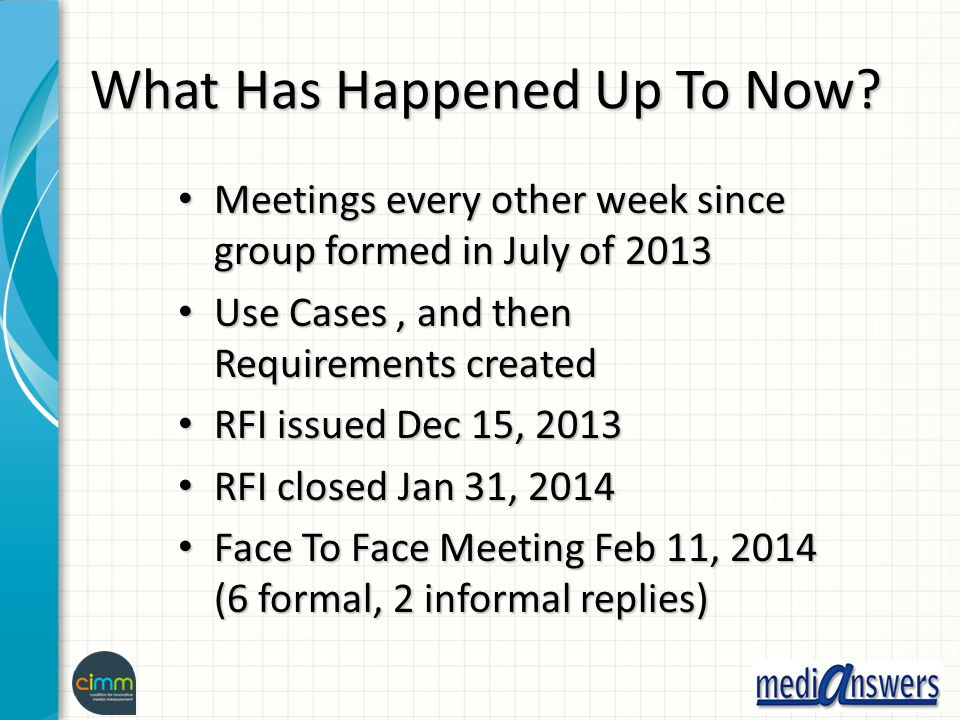 What Has Happened Up To Now? Meetings every other week since group formed in July of 2013 Meetings every other week since group formed in July of 2013