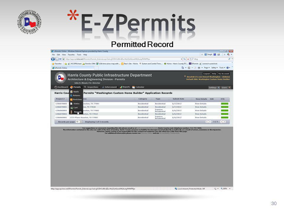30 Permitted Record