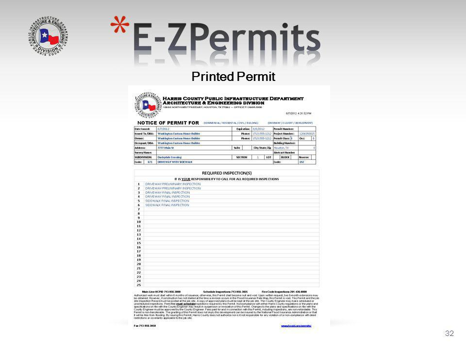 32 Printed Permit