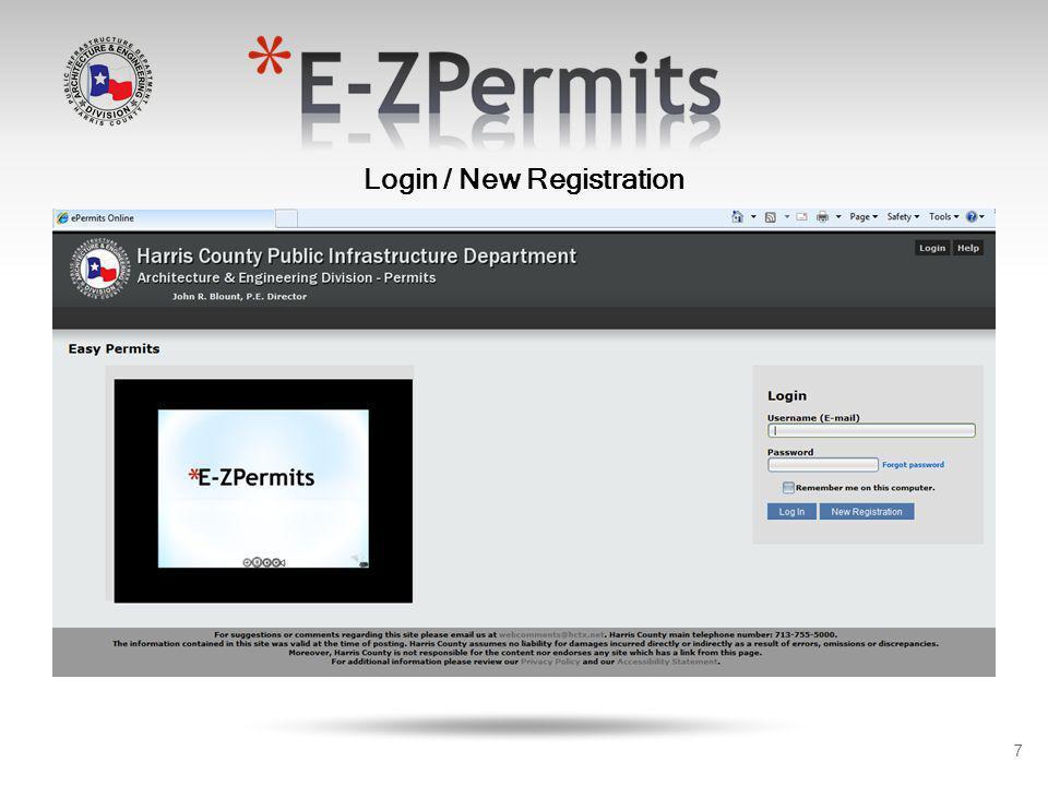 8 New Registration / User Profile